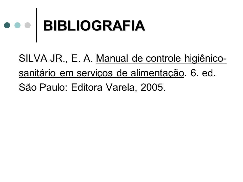 BIBLIOGRAFIA SILVA JR., E. A. Manual de controle higiênico- sanitário em serviços de alimentação. 6. ed. São Paulo: Editora Varela, 2005.