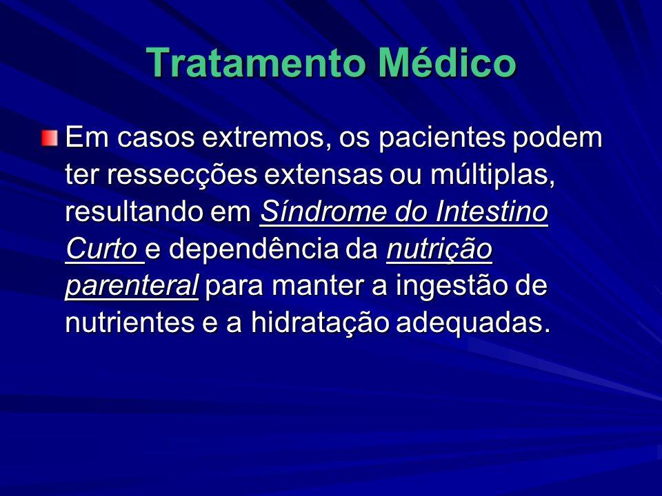 Tratamento Médico Em casos extremos, os pacientes podem ter ressecções extensas ou múltiplas, resultando em Síndrome do Intestino Curto e dependência