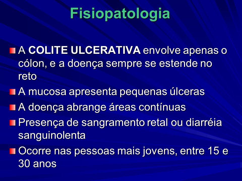 Fisiopatologia A COLITE ULCERATIVA envolve apenas o cólon, e a doença sempre se estende no reto A mucosa apresenta pequenas úlceras A doença abrange á