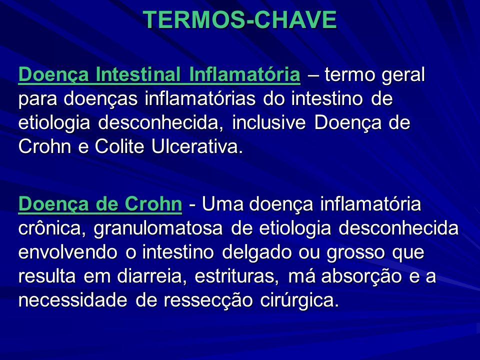 TERMOS-CHAVE Colite Ulcerativa – Doença inflamatória da mucosa colônica Ileostomia – Criação cirúrgica de uma abertura para dentro do íleo através de um estoma na parede abdominal Síndrome do Intestino Curto – Síndrome de má absorção resultantes de ressecções maiores do intestino delgado; caracterizada por diarréia, esteatorréia e desnutrição