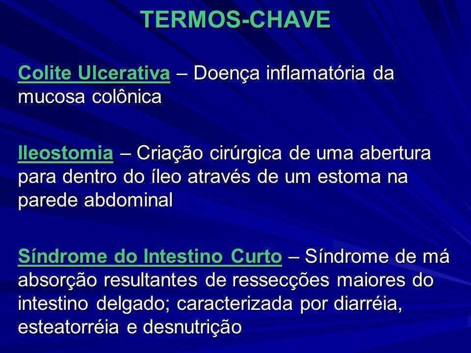 TERMOS-CHAVE Colite Ulcerativa – Doença inflamatória da mucosa colônica Ileostomia – Criação cirúrgica de uma abertura para dentro do íleo através de