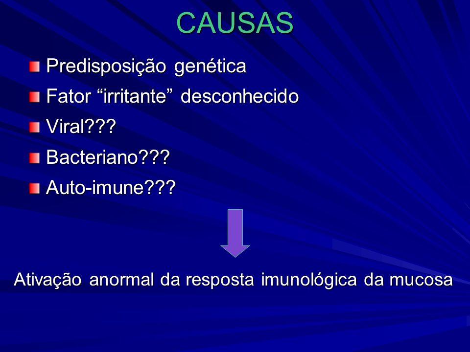 CAUSAS Predisposição genética Fator irritante desconhecido Viral???Bacteriano???Auto-imune??? Ativação anormal da resposta imunológica da mucosa