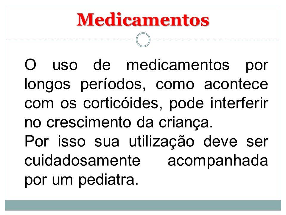 Medicamentos O uso de medicamentos por longos períodos, como acontece com os corticóides, pode interferir no crescimento da criança. Por isso sua util