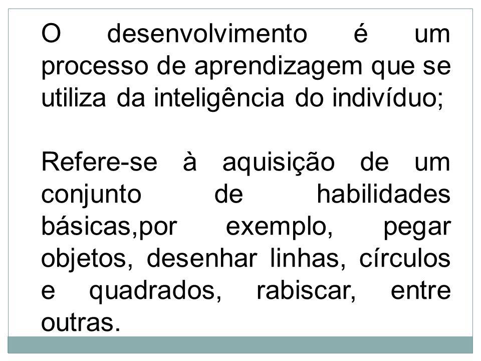 O desenvolvimento é um processo de aprendizagem que se utiliza da inteligência do indivíduo; Refere-se à aquisição de um conjunto de habilidades básic