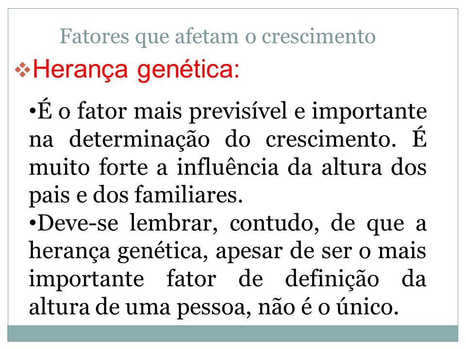 Fatores que afetam o crescimento Herança genética: É o fator mais previsível e importante na determinação do crescimento. É muito forte a influência d