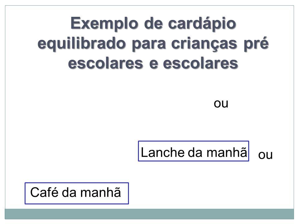 Exemplo de cardápio equilibrado para crianças pré escolares e escolares Café da manhã ou Lanche da manhã