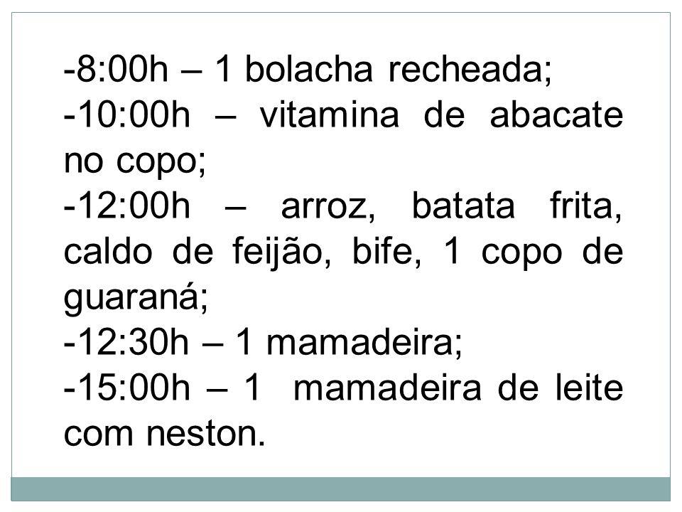 -8:00h – 1 bolacha recheada; -10:00h – vitamina de abacate no copo; -12:00h – arroz, batata frita, caldo de feijão, bife, 1 copo de guaraná; -12:30h –