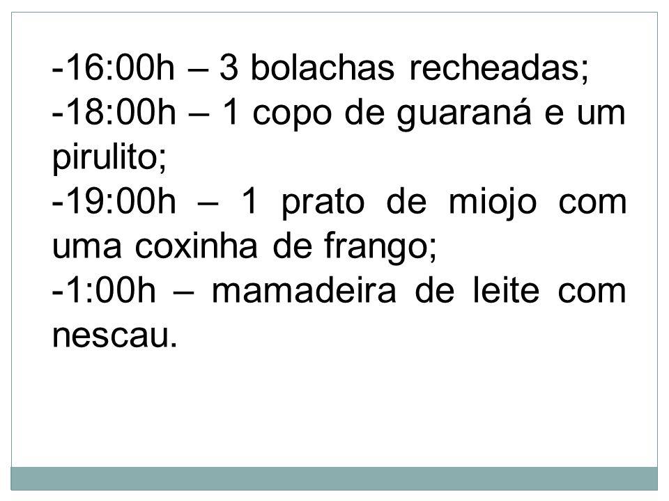 -16:00h – 3 bolachas recheadas; -18:00h – 1 copo de guaraná e um pirulito; -19:00h – 1 prato de miojo com uma coxinha de frango; -1:00h – mamadeira de