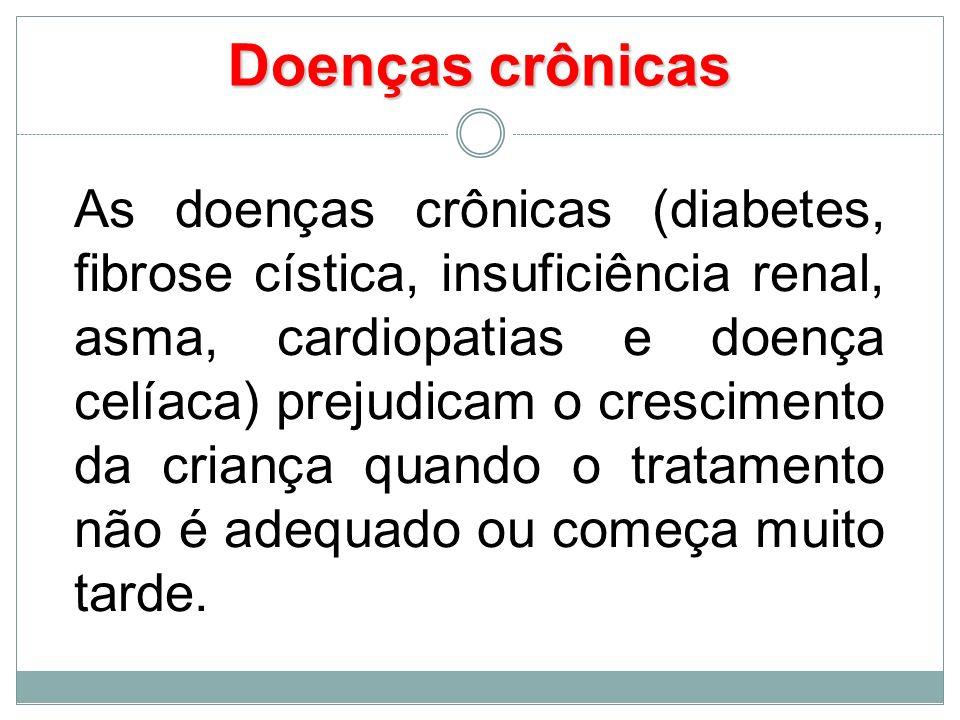 Doenças crônicas As doenças crônicas (diabetes, fibrose cística, insuficiência renal, asma, cardiopatias e doença celíaca) prejudicam o crescimento da