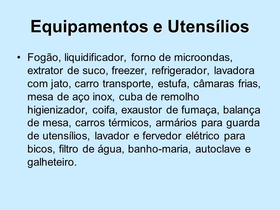 Fogão, liquidificador, forno de microondas, extrator de suco, freezer, refrigerador, lavadora com jato, carro transporte, estufa, câmaras frias, mesa