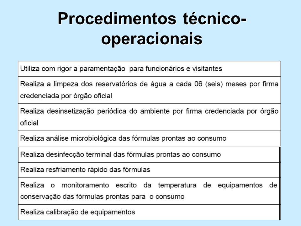 Procedimentos técnico- operacionais