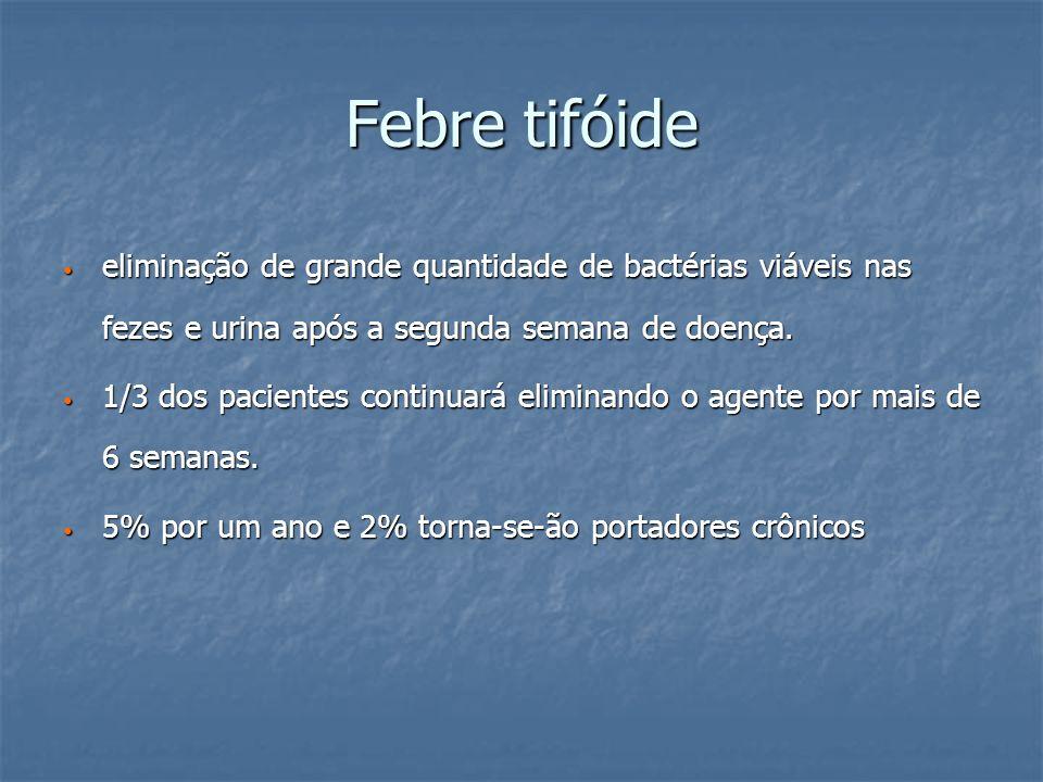 Febre tifóide eliminação de grande quantidade de bactérias viáveis nas fezes e urina após a segunda semana de doença. eliminação de grande quantidade