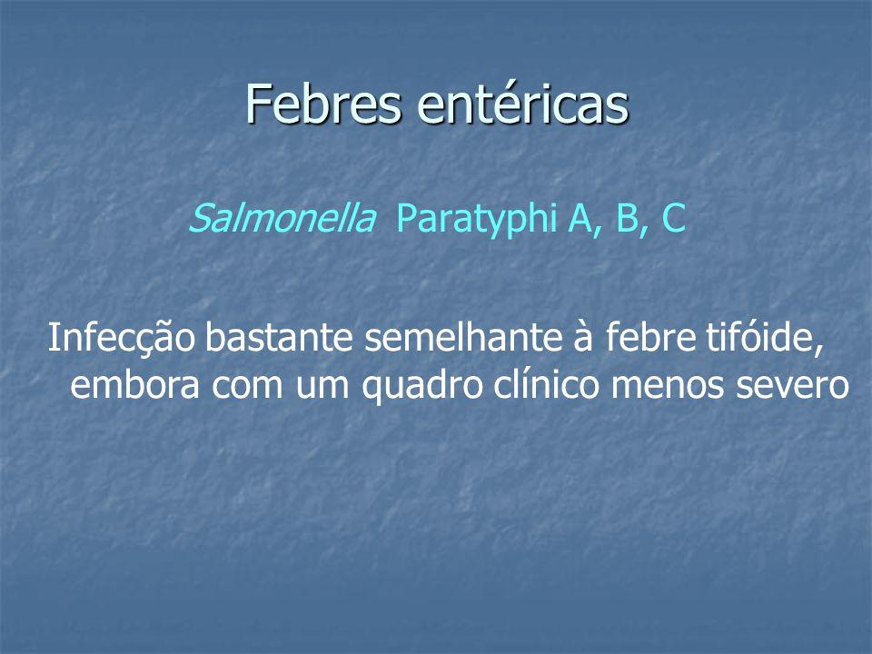 Febres entéricas Salmonella Paratyphi A, B, C Infecção bastante semelhante à febre tifóide, embora com um quadro clínico menos severo