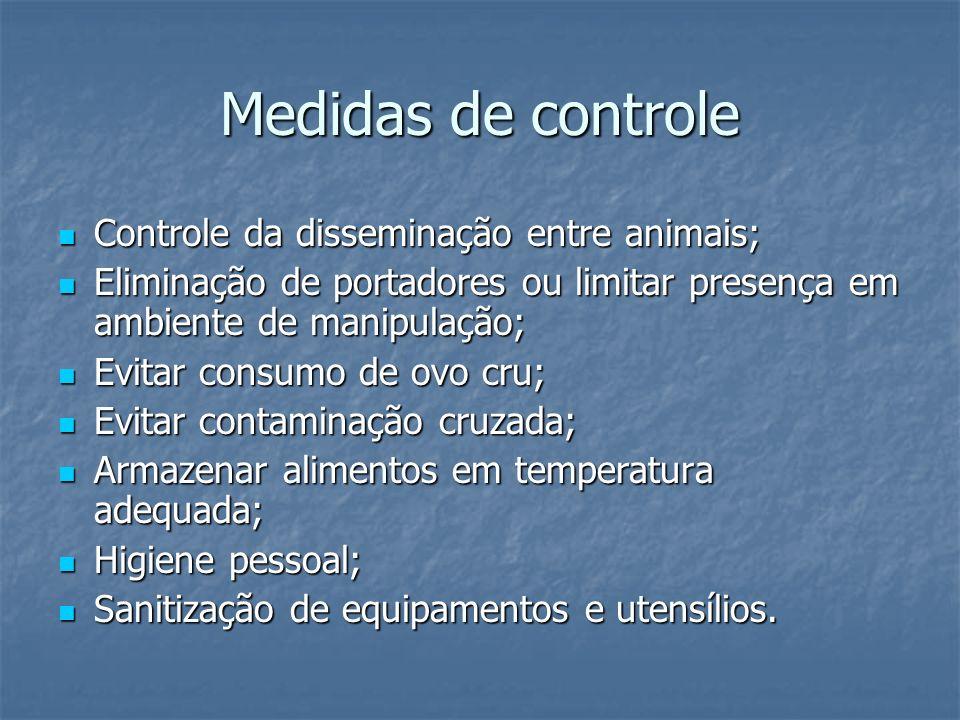 Medidas de controle Controle da disseminação entre animais; Controle da disseminação entre animais; Eliminação de portadores ou limitar presença em am