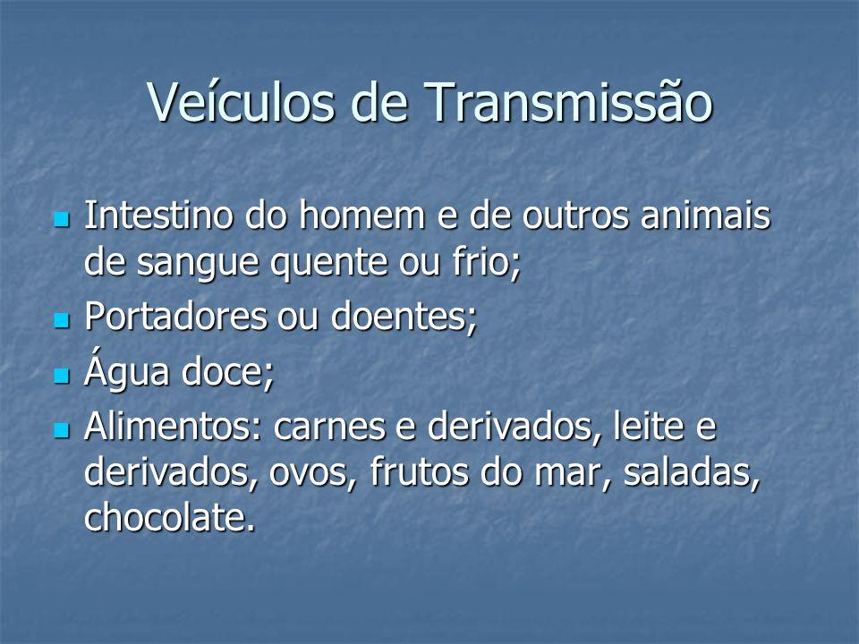 Veículos de Transmissão Intestino do homem e de outros animais de sangue quente ou frio; Intestino do homem e de outros animais de sangue quente ou fr