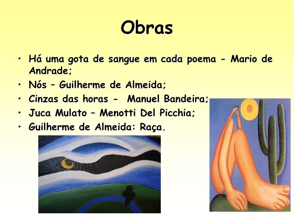 Obras Há uma gota de sangue em cada poema - Mario de Andrade;Há uma gota de sangue em cada poema - Mario de Andrade; Nós – Guilherme de Almeida;Nós –
