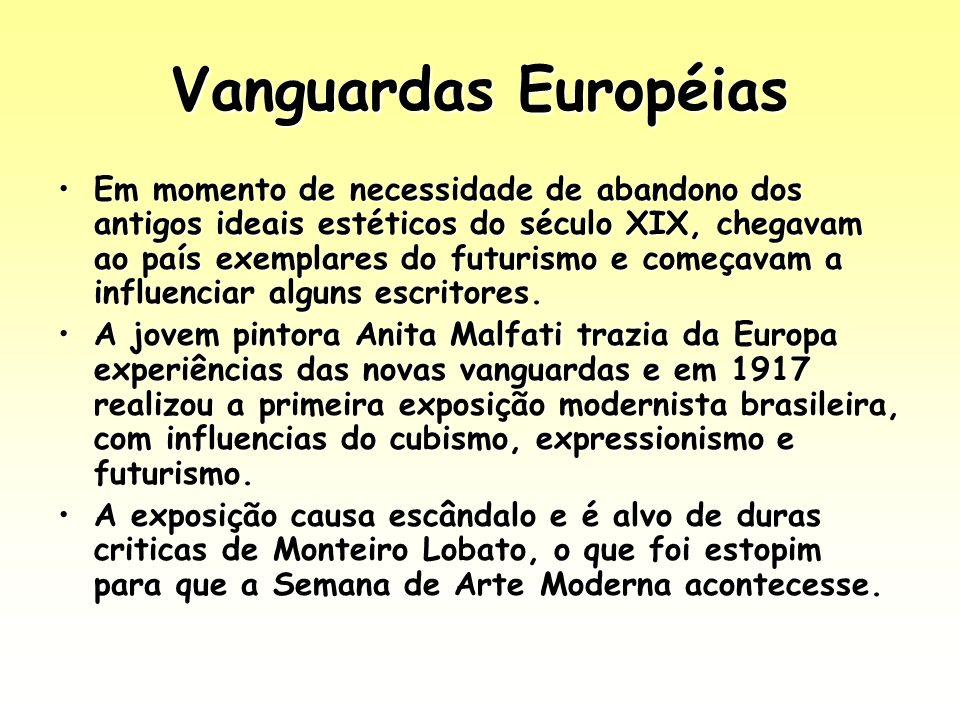 Vanguardas Européias Em momento de necessidade de abandono dos antigos ideais estéticos do século XIX, chegavam ao país exemplares do futurismo e come