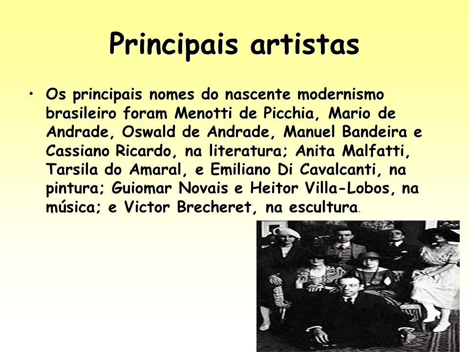 Principais artistas Os principais nomes do nascente modernismo brasileiro foram Menotti de Picchia, Mario de Andrade, Oswald de Andrade, Manuel Bandei