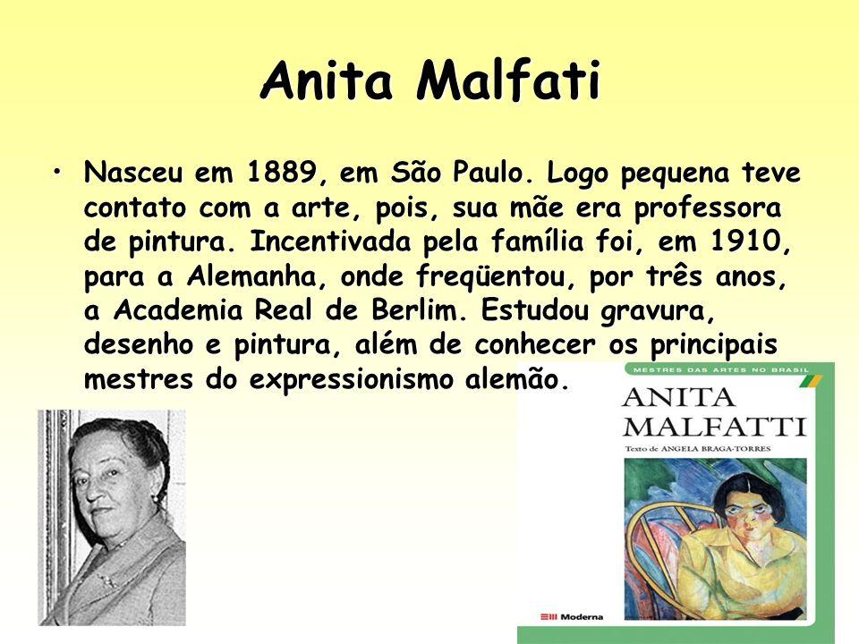 Anita Malfati Nasceu em 1889, em São Paulo. Logo pequena teve contato com a arte, pois, sua mãe era professora de pintura. Incentivada pela família fo
