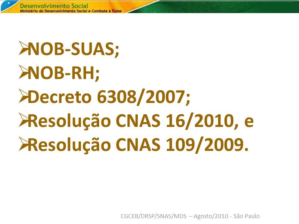 NOB-SUAS; NOB-RH; Decreto 6308/2007; Resolução CNAS 16/2010, e Resolução CNAS 109/2009.