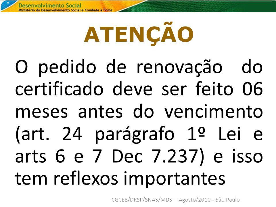 ATENÇÃO O pedido de renovação do certificado deve ser feito 06 meses antes do vencimento (art.