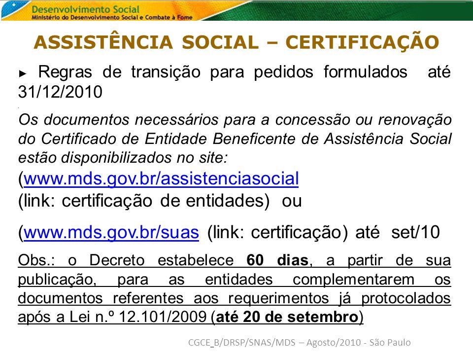 Regras de transição para pedidos formulados até 31/12/2010.