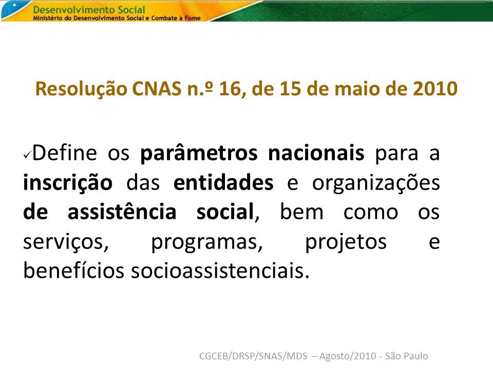 PONTOS IMPORTANTES: Necessidade de adequação às novas regras, principal- mente Quanto a atividade principal (CNAE)- CNPJ e atos constitutivos, além do plano de ação e relatórios CGCEB/DRSP/SNAS/MDS – Agosto/2010 - São Paulo