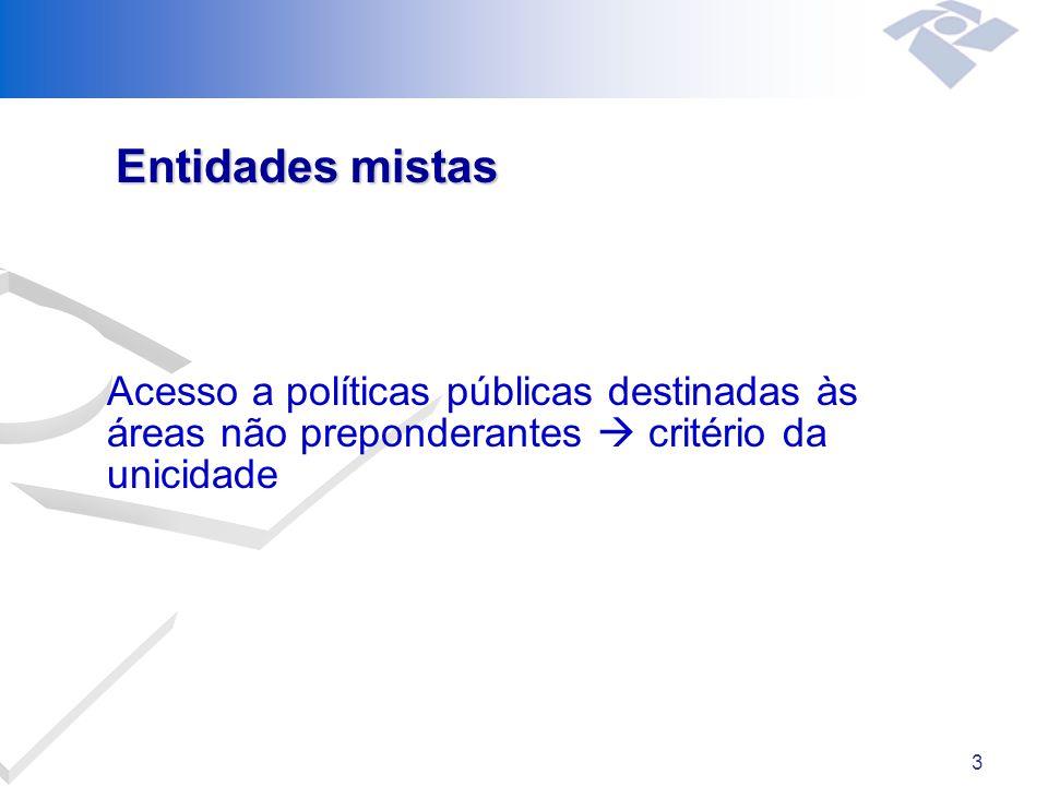 3 Entidades mistas Acesso a políticas públicas destinadas às áreas não preponderantes critério da unicidade