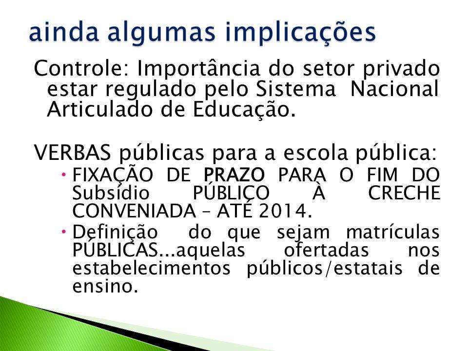 Controle: Importância do setor privado estar regulado pelo Sistema Nacional Articulado de Educação.