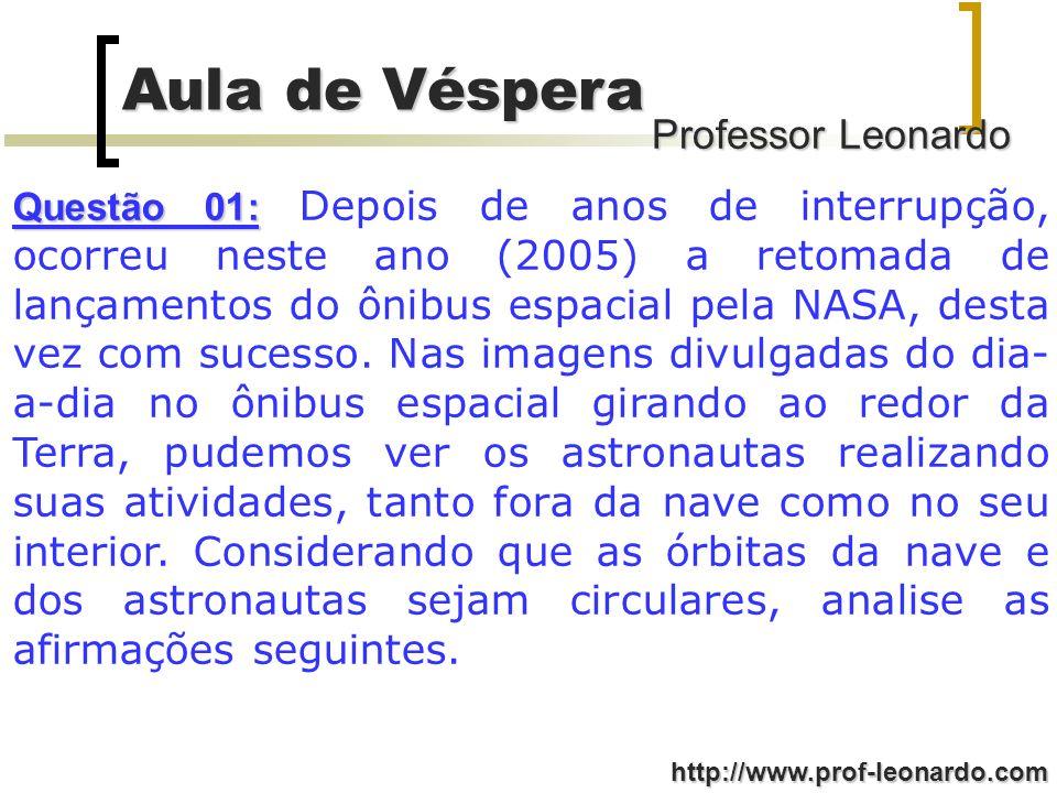 Professor Leonardo Aula de Véspera http://www.prof-leonardo.com (008) Na colisão a quantidade de movimento (fóton+elétron) permanece constante; VERDADEIRA (016) Após a colisão com o elétron o comprimento de onda do fóton espalhado aumenta; VERDADEIRA (032) Após a colisão com o elétron a freqüência da onda aumenta; FALSA