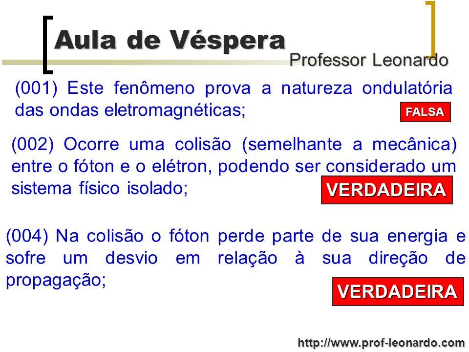 Professor Leonardo Aula de Véspera http://www.prof-leonardo.com (001) Este fenômeno prova a natureza ondulatória das ondas eletromagnéticas; FALSA (00