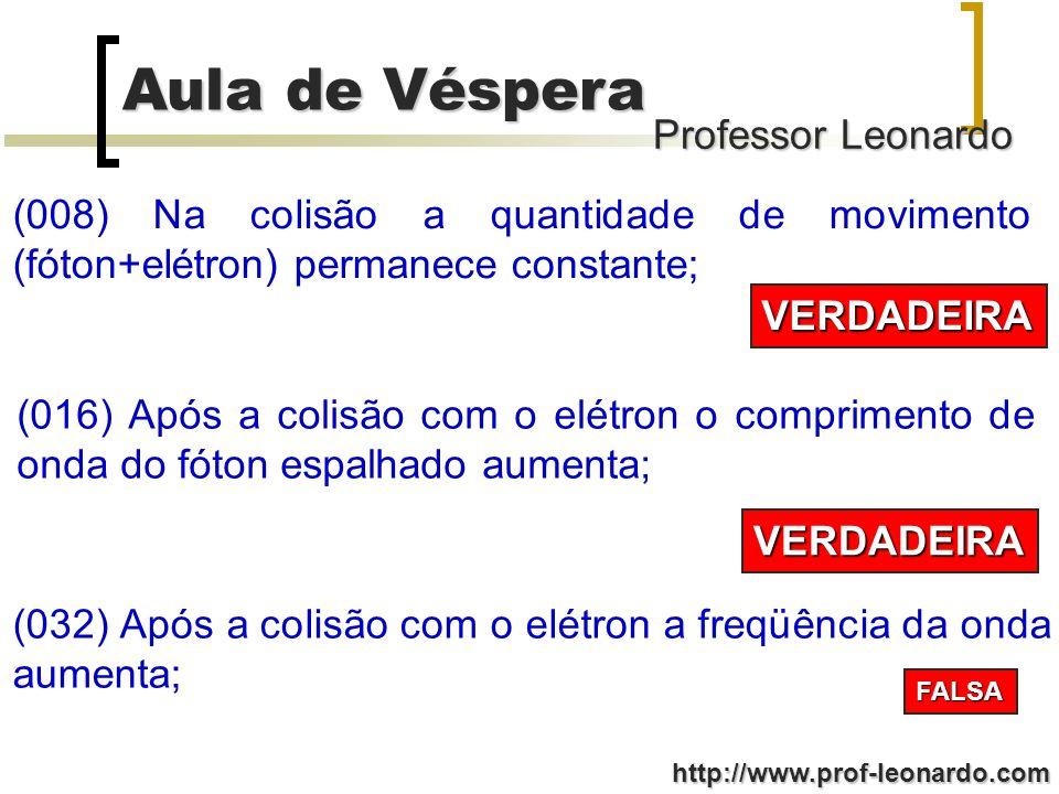 Professor Leonardo Aula de Véspera http://www.prof-leonardo.com (008) Na colisão a quantidade de movimento (fóton+elétron) permanece constante; VERDAD