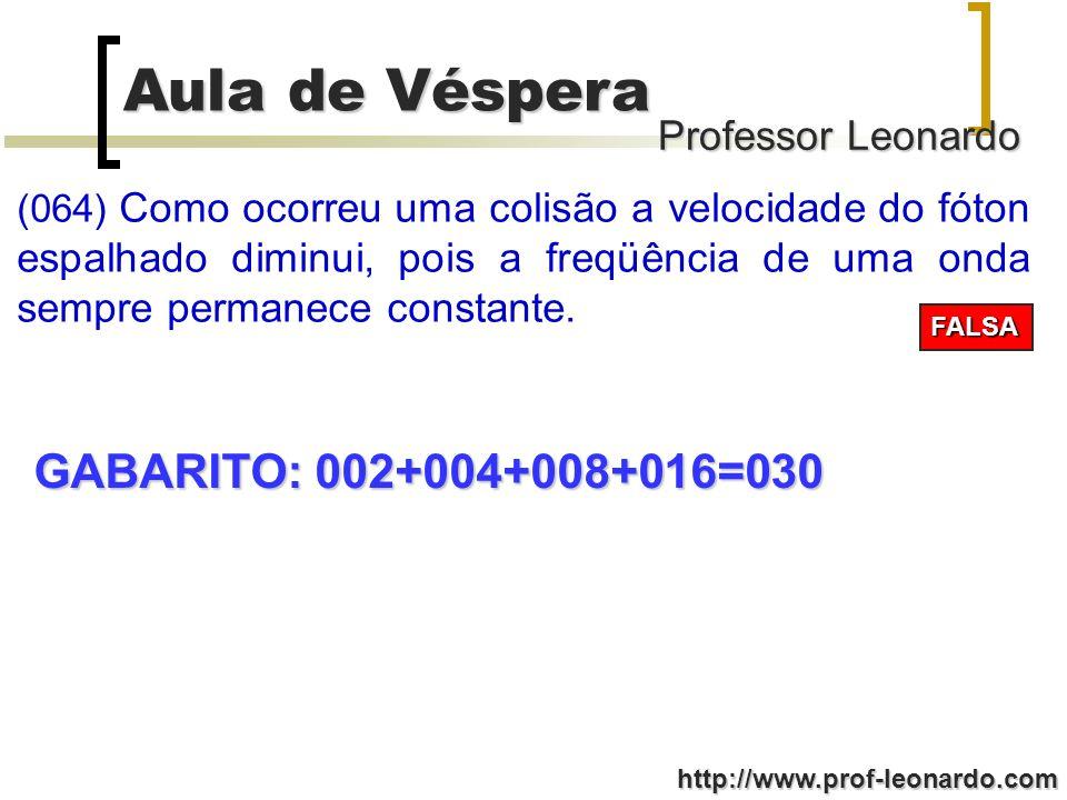 Professor Leonardo Aula de Véspera http://www.prof-leonardo.com (064) Como ocorreu uma colisão a velocidade do fóton espalhado diminui, pois a freqüên