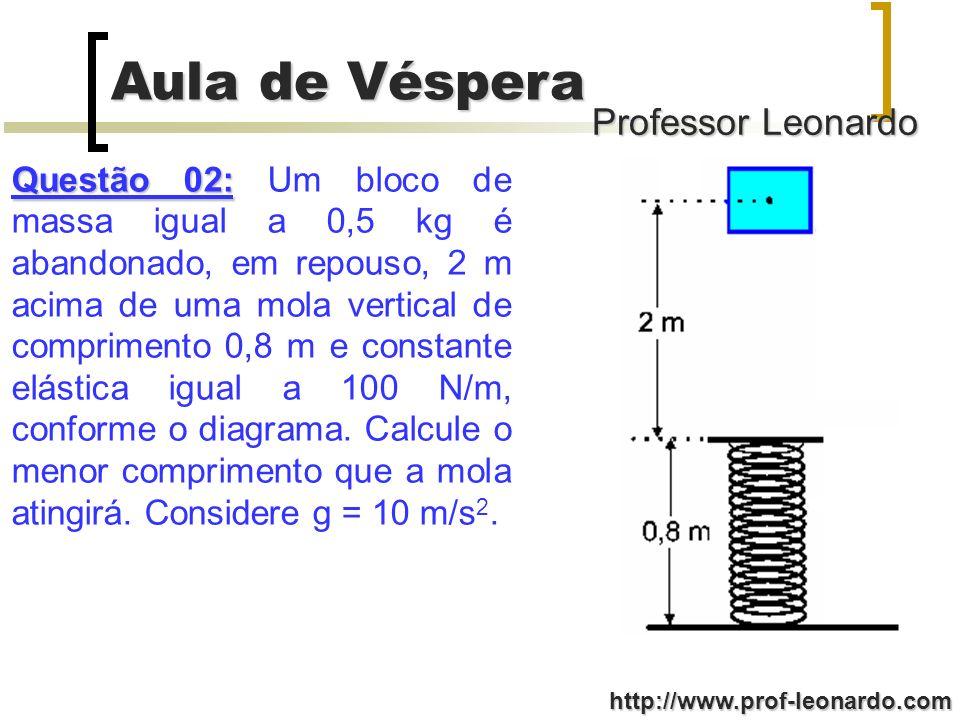 Professor Leonardo Aula de Véspera http://www.prof-leonardo.com Questão 02: Questão 02: Um bloco de massa igual a 0,5 kg é abandonado, em repouso, 2 m