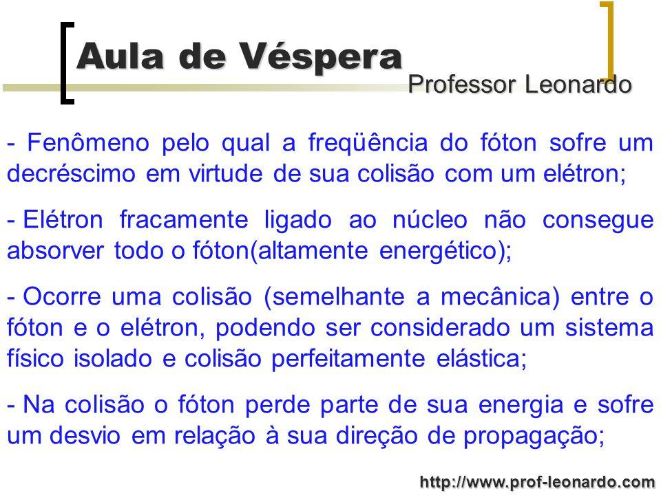 Professor Leonardo Aula de Véspera http://www.prof-leonardo.com -Na colisão a quantidade de movimento (fóton+elétron) permanece constante; - Após a colisão com o elétron f c = cte; - Mediu-se a intensidade dos raios X espalhados como função de seu, para vários ângulos de espalhamento; - Resultados experimentais apesar do feixe incidente ter um único os raios espalhados têm máximos de intensidade em 2 comprimentos de ondas;
