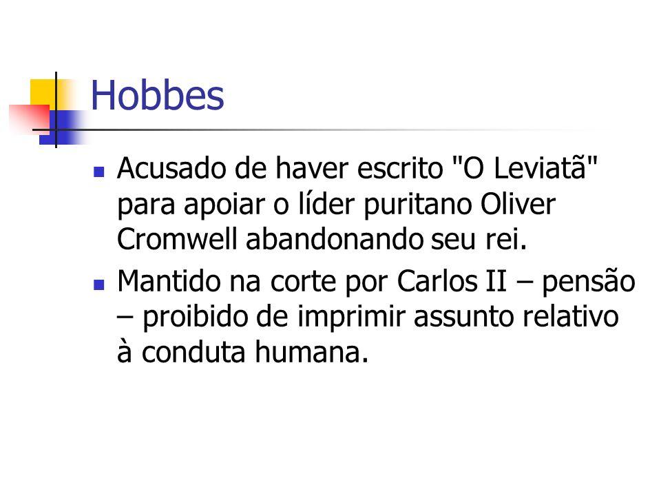Hobbes Em Paris Hobbes escreveu sua obra prima, O Leviatã ; ou Matéria, Forma e Poder da Comunidade Eclesiástica e Civil .