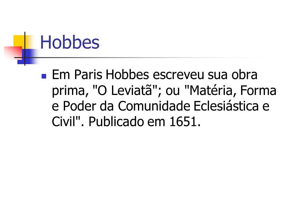 Pensamento Hobbes, no Leviatã (caps.