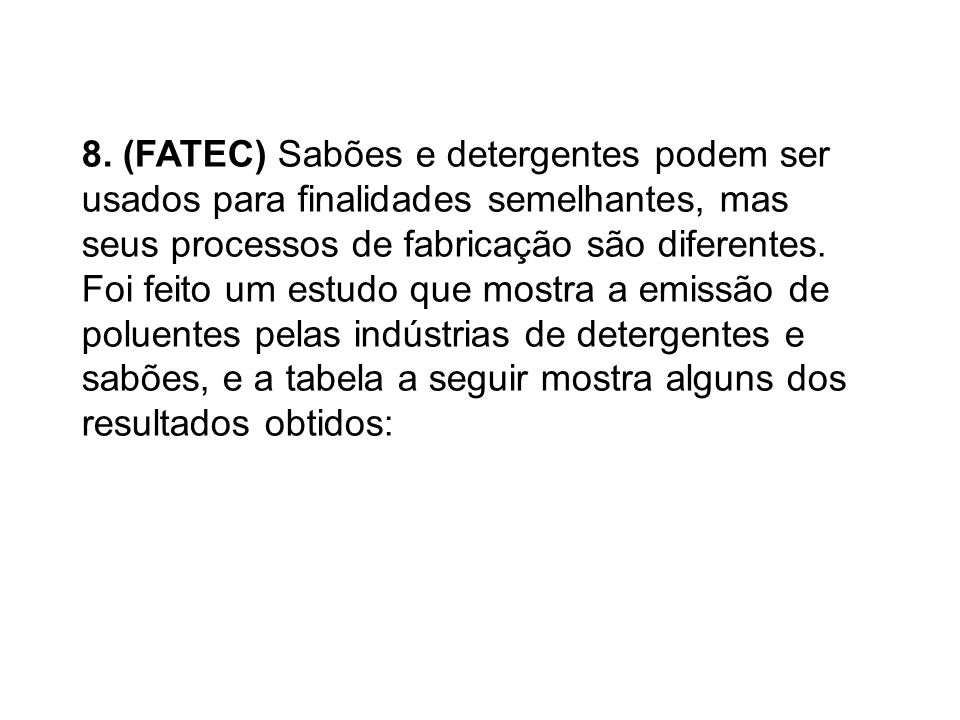 8. (FATEC) Sabões e detergentes podem ser usados para finalidades semelhantes, mas seus processos de fabricação são diferentes. Foi feito um estudo qu