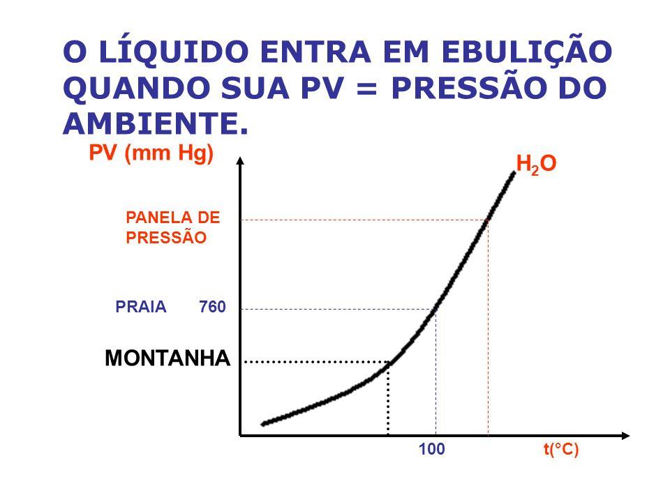 O LÍQUIDO ENTRA EM EBULIÇÃO QUANDO SUA PV = PRESSÃO DO AMBIENTE. PV (mm Hg) H2OH2O PANELA DE PRESSÃO 100 t(°C) PRAIA 760 MONTANHA