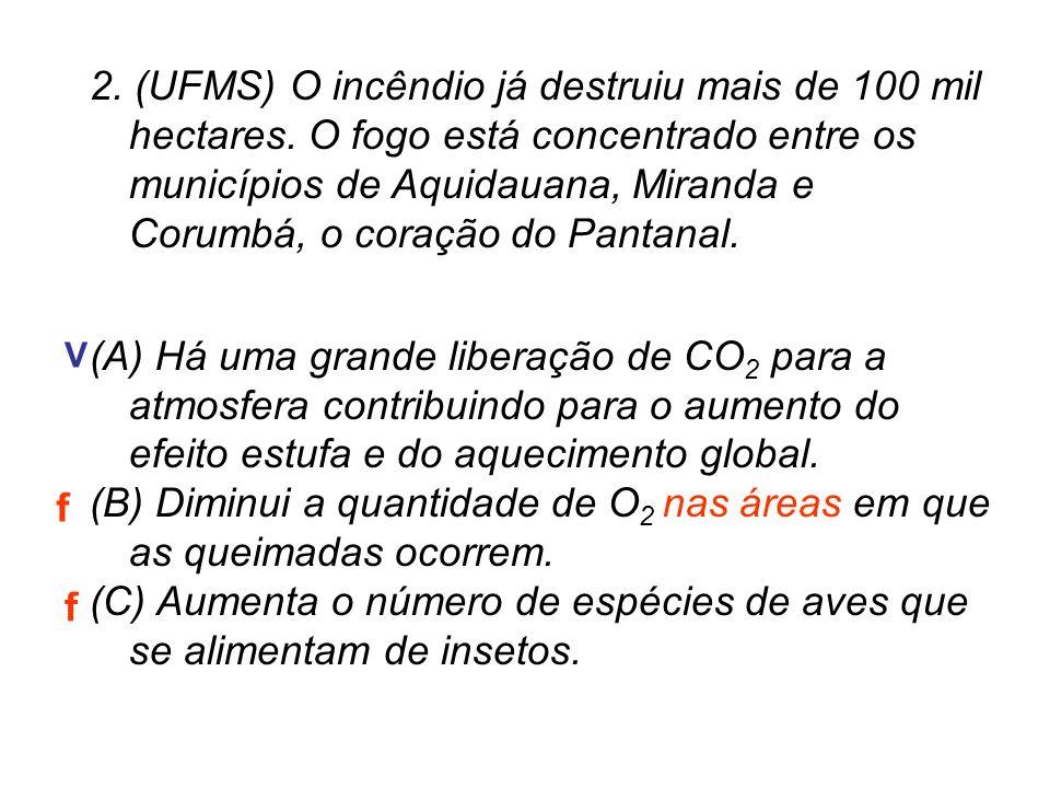 2. (UFMS) O incêndio já destruiu mais de 100 mil hectares. O fogo está concentrado entre os municípios de Aquidauana, Miranda e Corumbá, o coração do