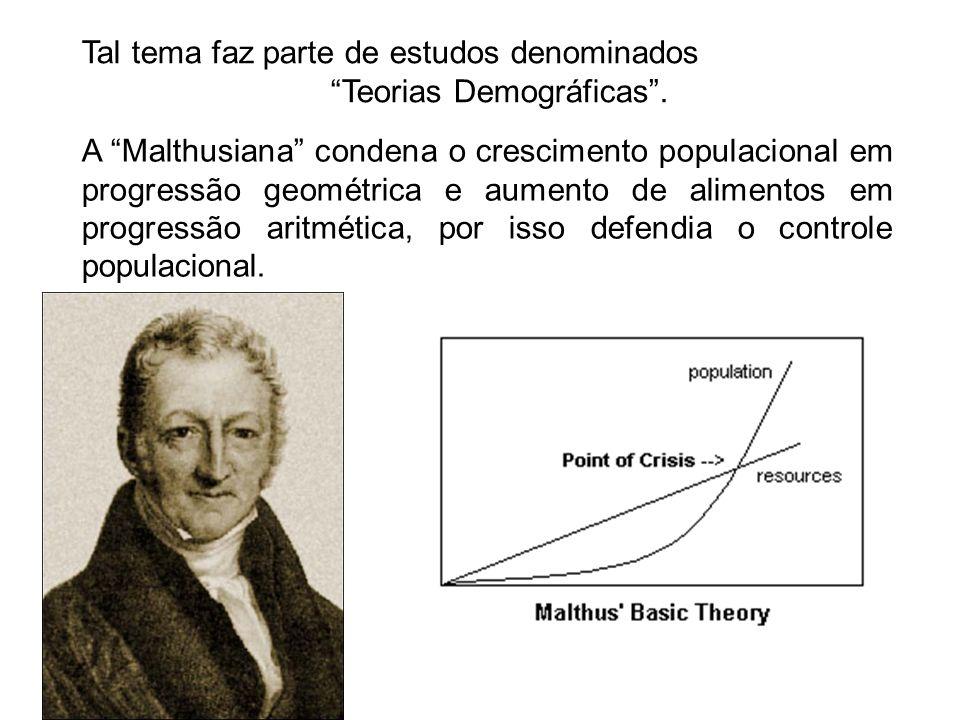Tal tema faz parte de estudos denominados Teorias Demográficas. A Malthusiana condena o crescimento populacional em progressão geométrica e aumento de
