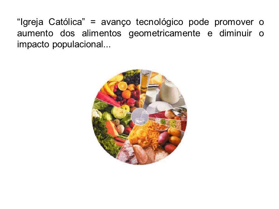 Igreja Católica = avanço tecnológico pode promover o aumento dos alimentos geometricamente e diminuir o impacto populacional...