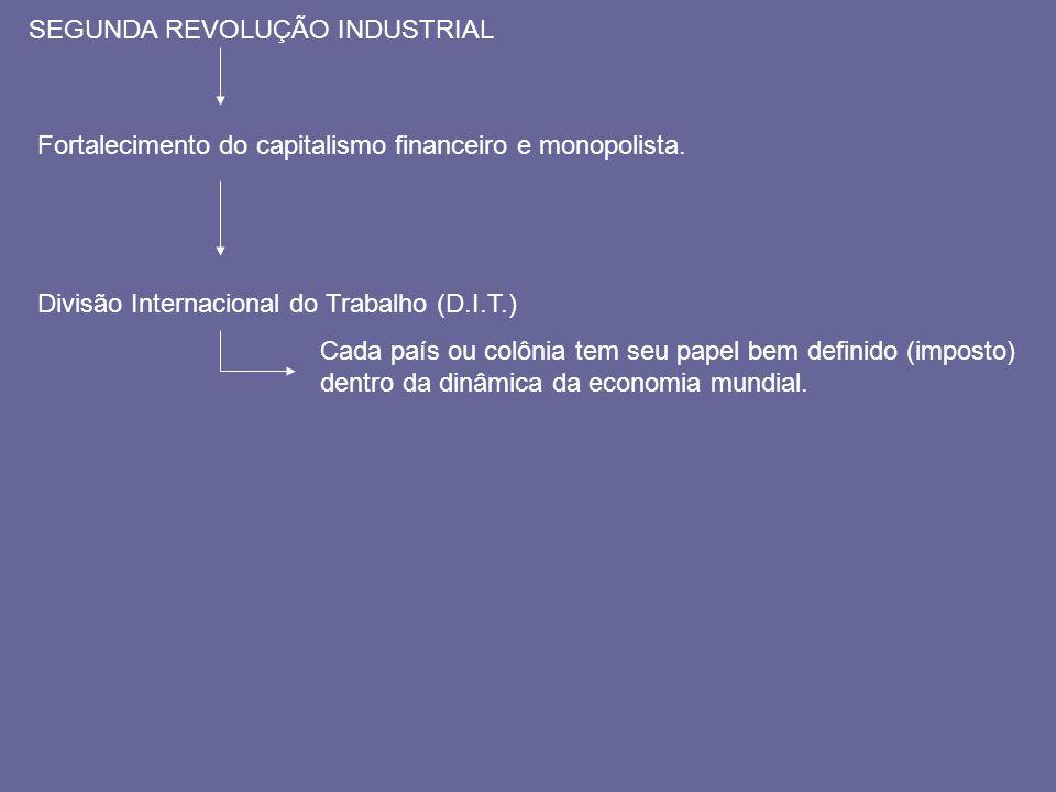 SEGUNDA REVOLUÇÃO INDUSTRIAL Gera FORTALECIMENTO DO CAPITALISMO FINANCEIRO E MONOPOLISTA Gera DIVISÃO INTERNACIONAL DO TRABALHO (D.I.T.) IMPERIALISMO Resulta Ter um maior número de países ou colônias para as quais possa vender seus produtos manufaturados, exportar capitais e receber matéria-prima.