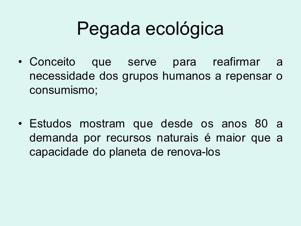 Pegada ecológica Conceito que serve para reafirmar a necessidade dos grupos humanos a repensar o consumismo; Estudos mostram que desde os anos 80 a de