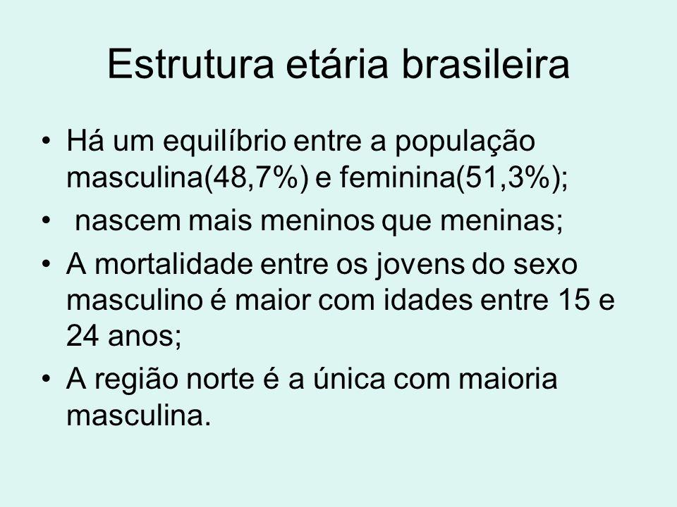 Estrutura etária brasileira Há um equilíbrio entre a população masculina(48,7%) e feminina(51,3%); nascem mais meninos que meninas; A mortalidade entr