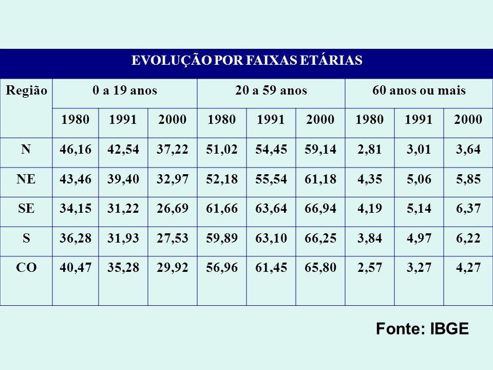 EVOLUÇÃO POR FAIXAS ETÁRIAS Região0 a 19 anos20 a 59 anos60 anos ou mais 198019912000198019912000198019912000 N46,1642,5437,2251,0254,4559,142,813,013