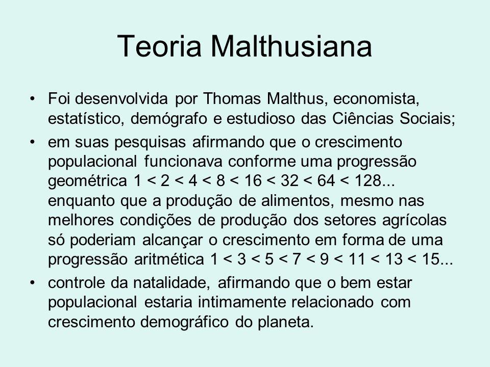 Teoria Malthusiana Foi desenvolvida por Thomas Malthus, economista, estatístico, demógrafo e estudioso das Ciências Sociais; em suas pesquisas afirman