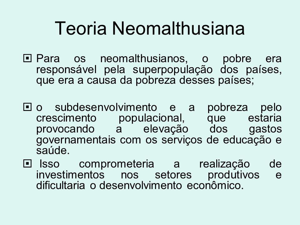 Teoria Neomalthusiana Para os neomalthusianos, o pobre era responsável pela superpopulação dos países, que era a causa da pobreza desses países; o sub
