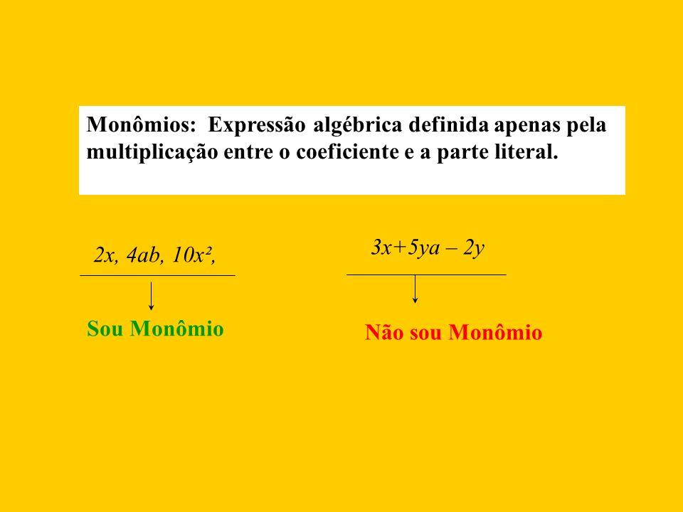Monômios: Expressão algébrica definida apenas pela multiplicação entre o coeficiente e a parte literal.