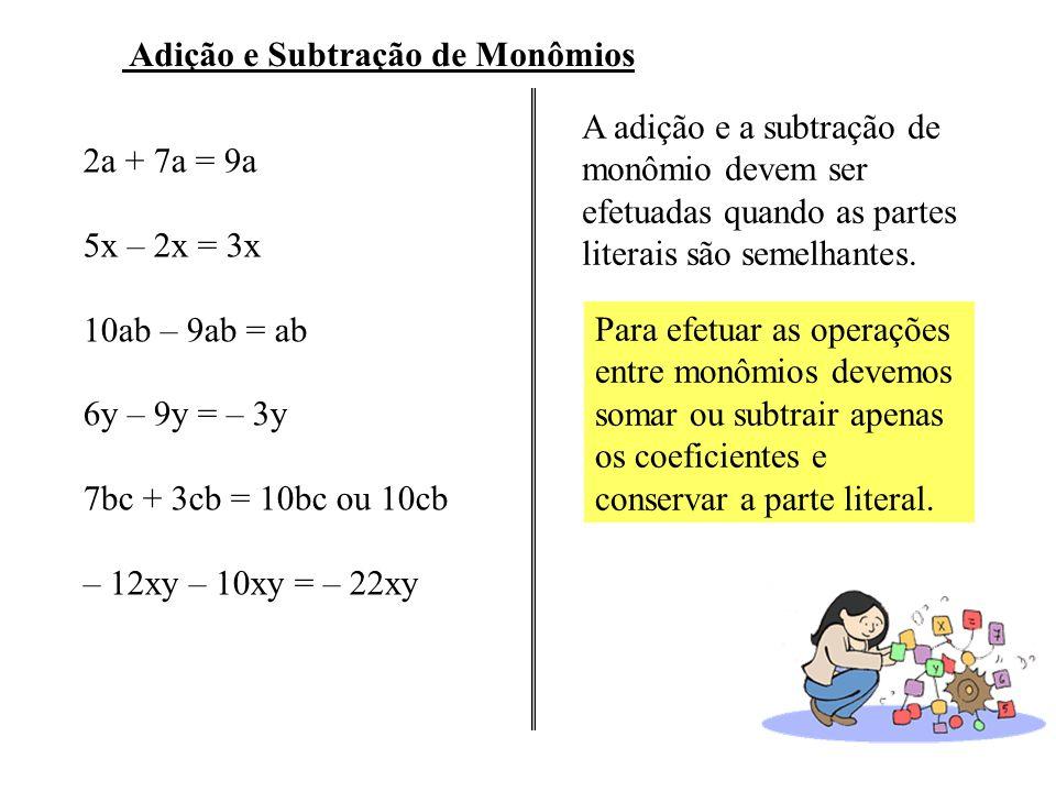 Adição e Subtração de Monômios 2a + 7a = 9a 5x – 2x = 3x 10ab – 9ab = ab 6y – 9y = – 3y 7bc + 3cb = 10bc ou 10cb – 12xy – 10xy = – 22xy A adição e a subtração de monômio devem ser efetuadas quando as partes literais são semelhantes.